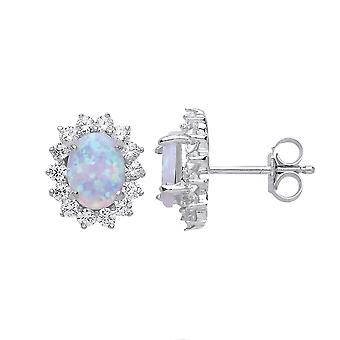 Jewelco London Ladies Rhodium Plated Sterling Argent ovale opale Royal Cluster Stud Boucles d'oreilles