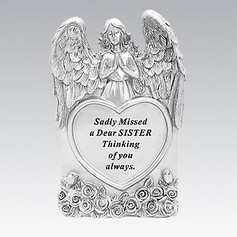 David Fischhoff Silver Praying Angel Heart Sister Memorial Standing Plaque
