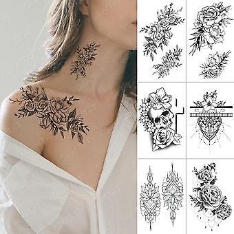 Waterproof Temporary Cross Skull Flowers Flash Tattoo Sticker