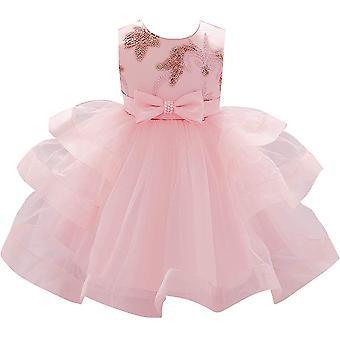 Baby Meisje Formele Doop Prinses Jurk 1131-roze