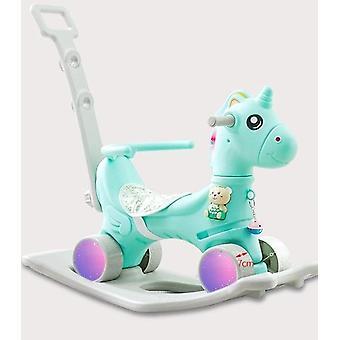 Children Cute Unicorn Flashing Wheel Pram Baby Music Multi-function Rocking