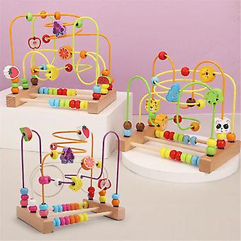 Bead Maze Toddlers Wooden Colorful Roller Coaster