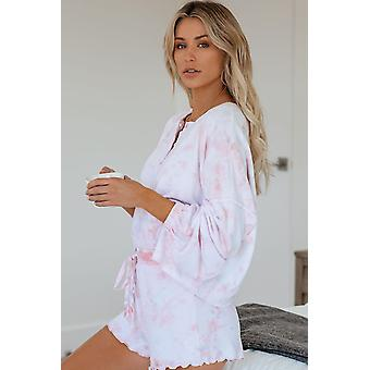 Pink Tie Dye Knit Long Sleeve And Short Pajamas Set