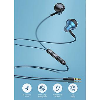 Baseus H19 Earbuds with Mic and Controls - 3.5mm AUX Earbuds Volume Control Wired Earphones Earphones Blue