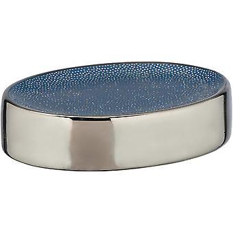 soporte de jabón Nuria 12 cm azul cerámico / cromo