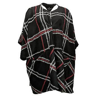 Cuddl Duds Women's Wrap Fleecewear Stretch Open Front Black A381797