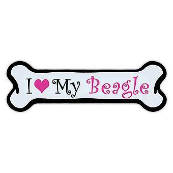 """Magnet, rosa hund bein magnet, jeg elsker min beagle, 7"""" X 2"""""""