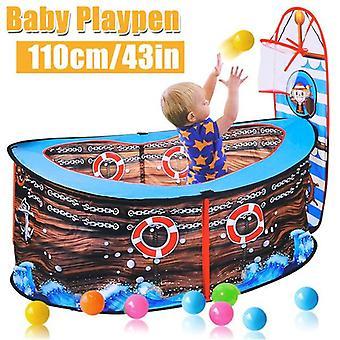 (110x50cm/43.3x19.7in) Piratskib Børn Play Telt Ball Pit Basketball Hoop