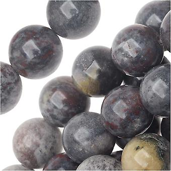 حبات الأحجار الكريمة، الخيزران جاسبر، جولة 6mm، 15.5 بوصة ستراند، متعددة الألوان