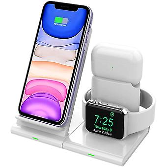 FengChun 3 in 1 Wireless Charger Stand, Qi Fast Charging Dock Station (für iPhone/iWatch/Airpods),