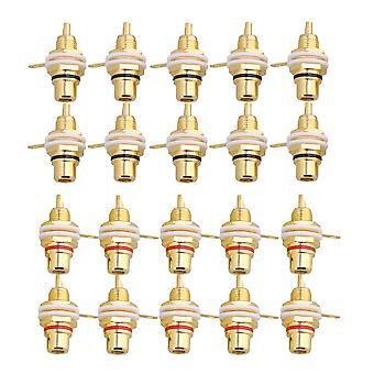 20 PC-uri placate cu aur lipire de sex feminin RCA Jack Panel Mount Șasiu Prize