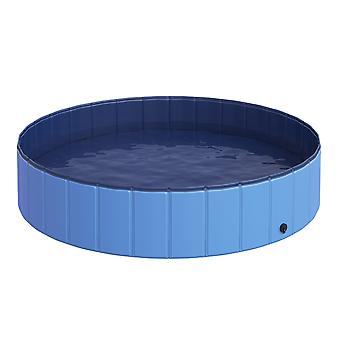 PawHut Foldable Dog Paddling Pool Pet Cat Swimming Pool Indoor/Outdoor Collapsible Summer Bathing Tub Shower Tub Puppy Washer (Φ140 x 30H (cm), Blue)