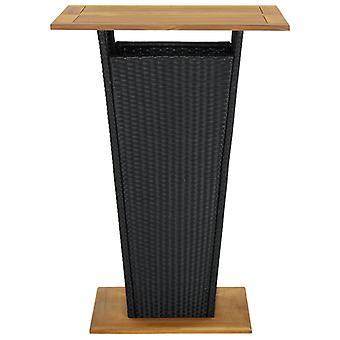 vidaXL Bar pöytä Musta 80x80x110 cm Poly rottinki ja massiivipuu akasia