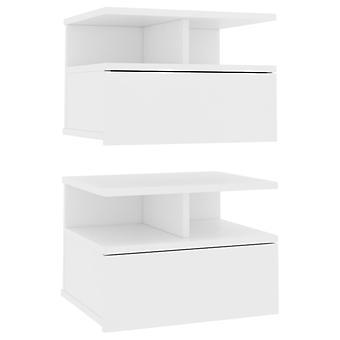 vidaXL Tavolini sospesi 2 Pezzi. Bianco 40 x 31 x 27 cm Truciolato