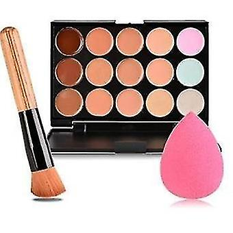 15 Colors contour face cream concealer palette sponge puff powder brush makeup kit cai1405