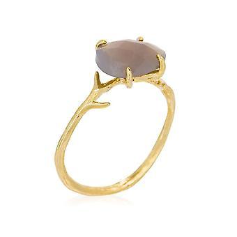 Anello d'oro 'Lily' Grigio Agata