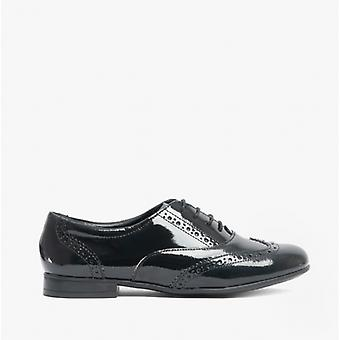 Start-Rite Matilda Girls Leather Brogue School Shoes Patent Black