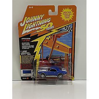 Custom Camaro Bright Deep Metallic Blue  1:64 Johnny Lightning JLCG020B