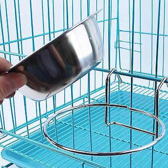 Edelstahl hängen Schüssel Fütterung Schale Pet Vogel Hund Essen Wasser Käfig Tasse