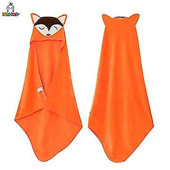 Eläinten hupullinen vauvan pyyhepesulappu, taapero premium puuvilla imukykyinen kylpytakki tytöille pojat (oranssi)