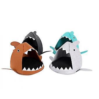 Cartoon Cat Litter Shark Four Seasons Folding(Brown)