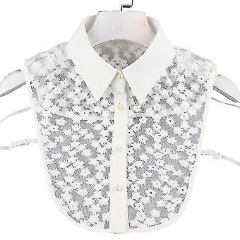 Anti Ryppy puoli paidat kirjonta väärä kaulus valkoinen kukka ontto irrotettava pusero