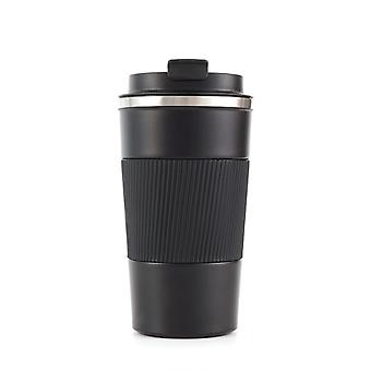 Insulated travel mug with waterproof lid made of 304 stainless steel, suitable for hot and cold coffee, milk and tea(black)