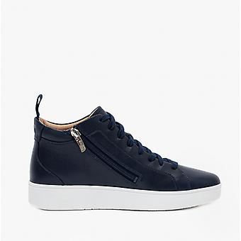 FitFlop Rally Haut de gamme Dames Cuir Casual Trainers Midnight Navy