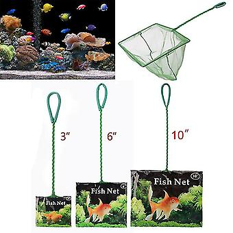 Portable Fishing Net Long Handle Square Aquarium Accessories Fish Float Cleaning Tool (3 Inches)
