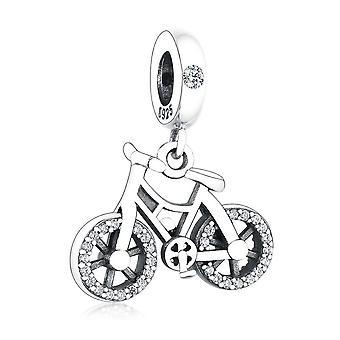 925 Sterling Ezüst Medál Brilliant Bicycle Dangle Charm Gyöngyök DIY Ékszer Nők | Varázsa