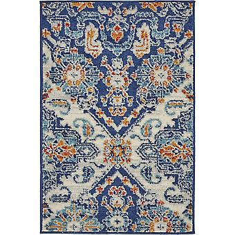 2' x 3' Blue and Ivory Persian Patterns Scatter Rug