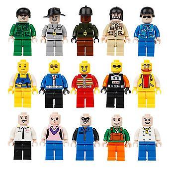 12 stk / mye mini figur byggestein leker ingeniører reparere mann studenter