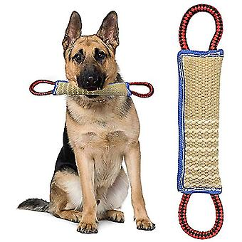 Dog Bite Bite Toy With 2 Handles 30 Cm - Dummy Dog Dental Health Beneficial Floating Learning Roller, Interactive Rope Toy For Large / Medium Dogs