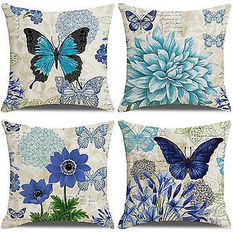 Pakkaus 4 tyynynpäällinen 18x18 sininen kukka perhonen kuvio puuvilla pellava koristeellinen heittää tyynynpäälliset tyynyliinat tyynyliinat