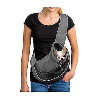 Hundetragetasche Einstellbare Welpen Katzenschultertasche Kleine Haustier Reisetasche Hundehandtasche mit atmungsaktiver Netztasche Tragbare Hundetasche für Outdoor-Markt Grau