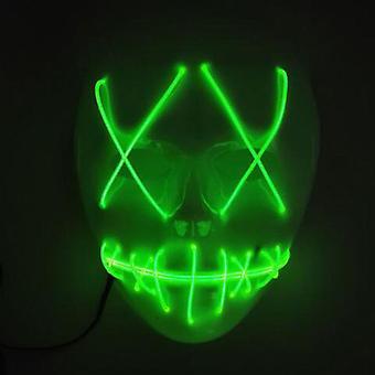 Halloween Horror Mask Førte Cosplay Smilende syet El Wire Lyser op