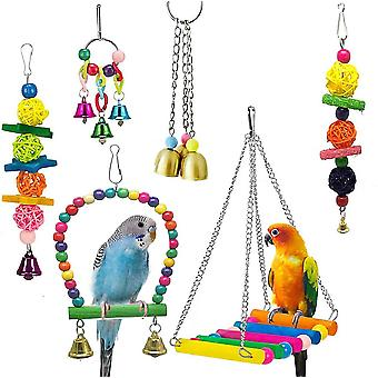 Pet Parrot Toy, Bird Toy Combo szett 6 készletek