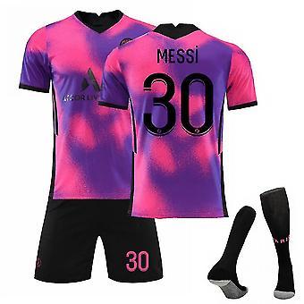 メッシ#30ジャージーニュージャージーシーズンパリサッカーTシャツジャージーセットアダルトチルドレンパープル