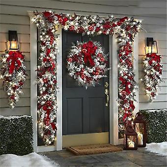 Yesfit joulu punainen parveileva Garland joulu koriste tekoseppele