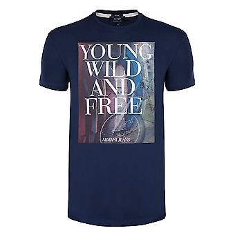 Armani Navy YWF Graphic Mens T-Shirt