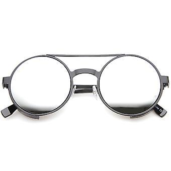 Damen Metall Runde Sonnenbrille mit UV400 Schutz verspiegelte Linse