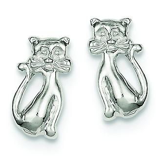 925 Sterling Silver Solid Polished Post Earrings Cat Mini for boys or girls Earrings - 1.9 Grams