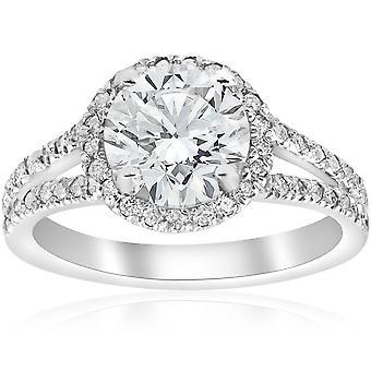 2 1 / 2ct Halo Diamant Verlobungsring Split Schaft Pave verbessert 14 k White Gold
