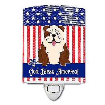 Patriotic USA English Bulldog Brindle White Ceramic Night Light