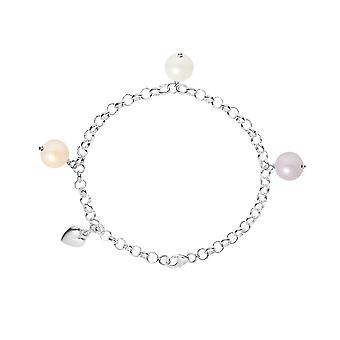 Bracelet Coeur Perle de culture d'eau douce Blanche, Peche et Lavande et Argent 925 3506