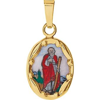 14 k colgante de oro amarillo porcelana San Judas 13x10mm - gramos.3