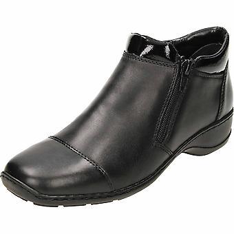 Rieker preto couro tornozelo botas 58374-00
