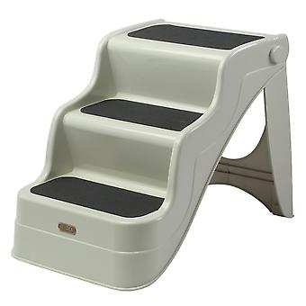 PawHut Lightweight Portable Pet Steps Folding Stairs Dog Cat 3 Steps Ladder Indoor and Outdoor – Cream White