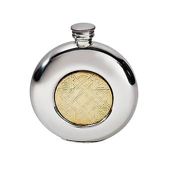 Celtic Round Pewter Flask with Embossed Brass Badge - 6oz