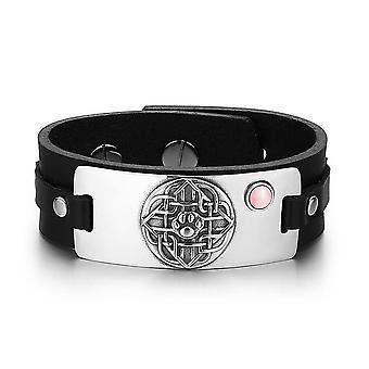 Wolf patte bouclier celtique noeud amulette magique chats simulé rose oeil réglable noir Bracelet en cuir